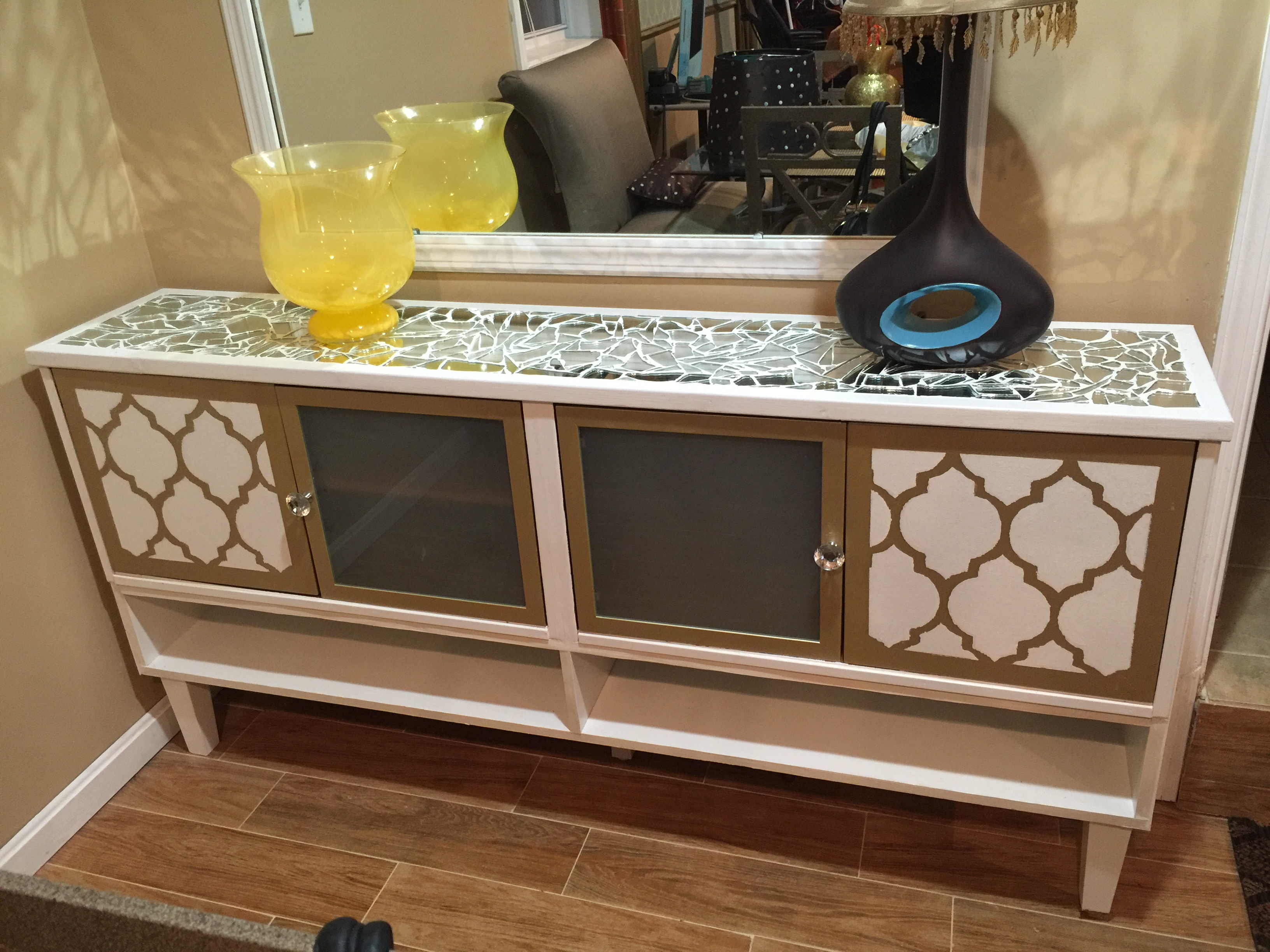 Free Ikea Cabinets become a Mirror Mosaic Top Sideboard