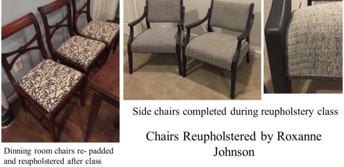 Reupholstery Student Completes Class